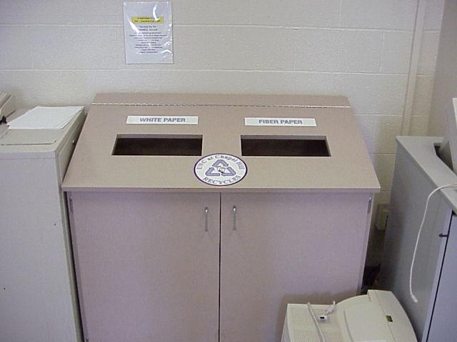 Recycling bins in Beard Hall