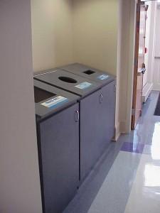 Recycling bins in Carolina (Saunders) Hall