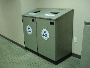 Recycling bins in Giles F. Horney Building