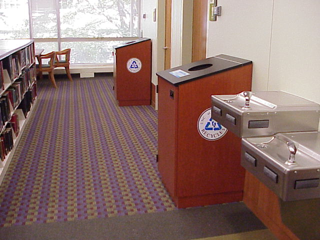 Recycling bins in House Library
