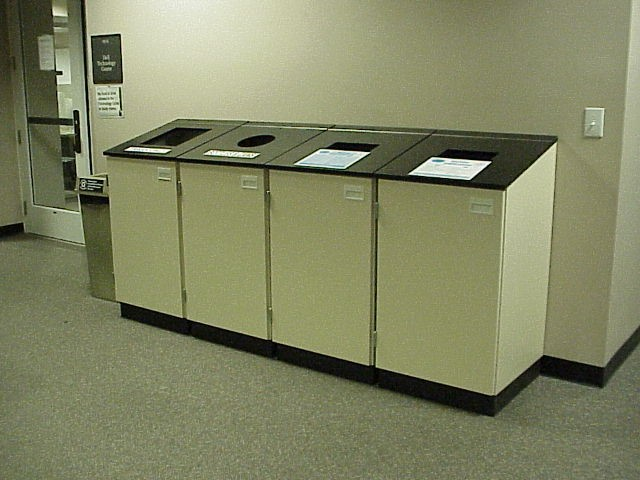 Recycling bins in McColl Building