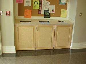 Recycling bins in Murphey Hall
