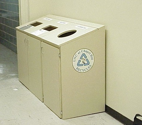 Recycling bins in Phillips Hall