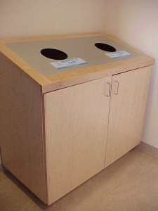 Recycling bins in Stone Center