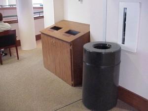 Recycling bins in Van Hecke-Wettach Hall