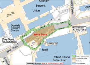 South Road Pedestrian Detour Map