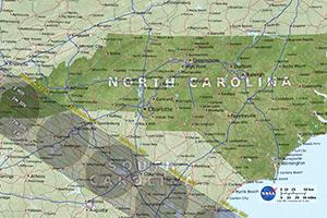 Path of Solar Eclipse Near North Carolina