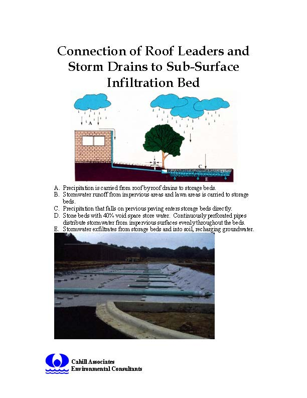 Connection of Roof Leaders and Storm Drains to Sub-Surface Infiltration Bed