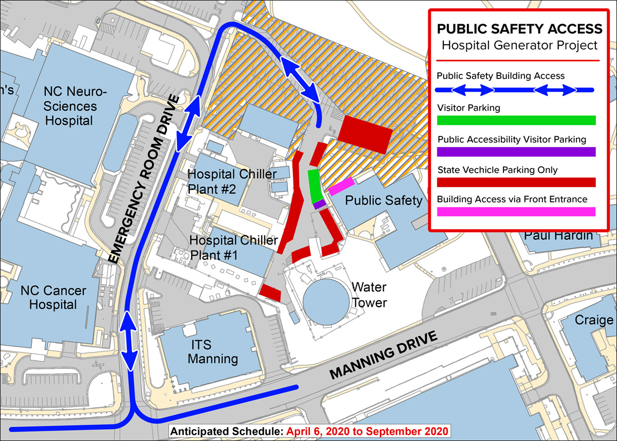 Map of visitor access and parking