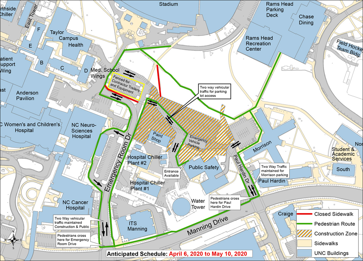 Map of project phase one work zone and pedestrian routes