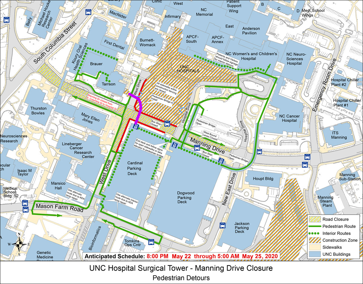 Map of pedestrian detours