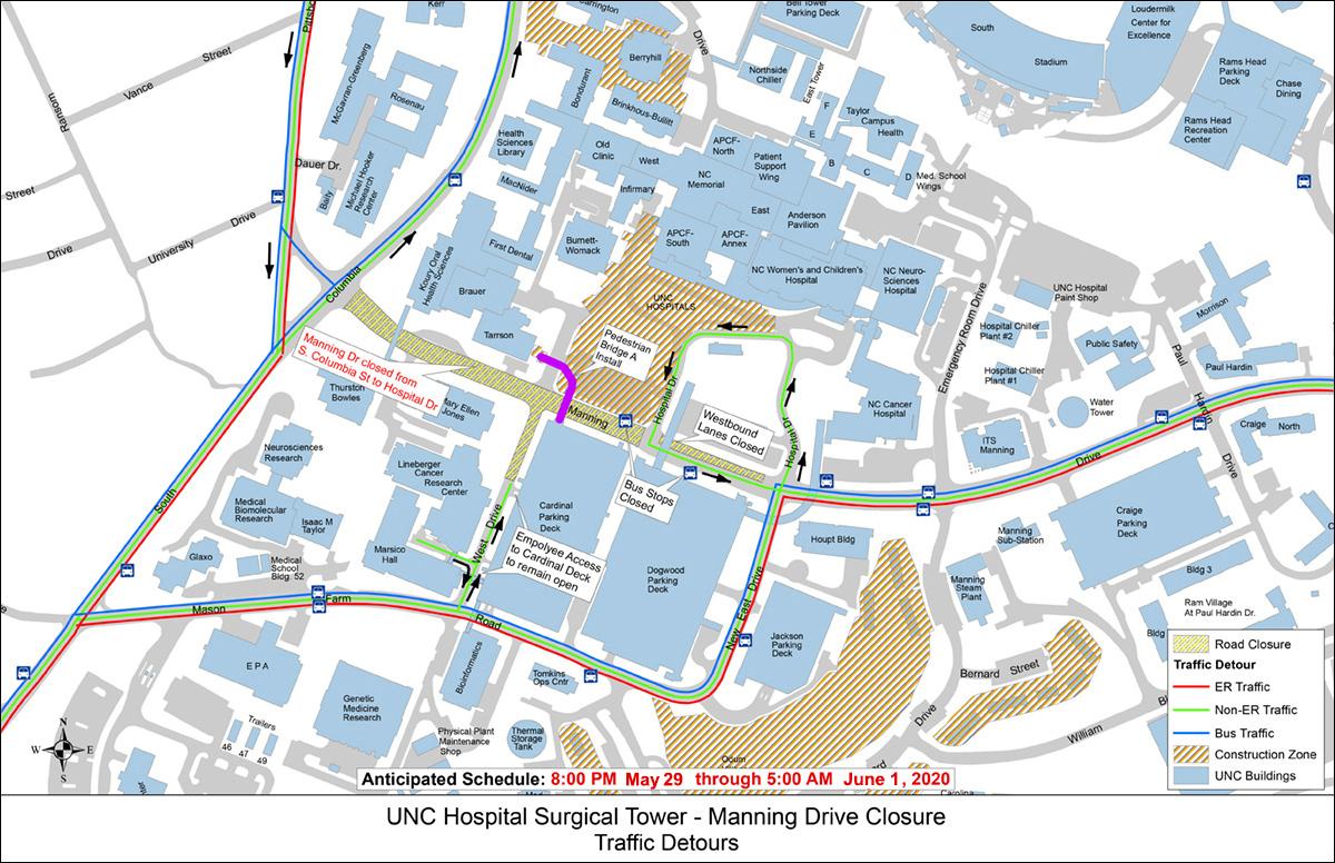 Map of traffic detours