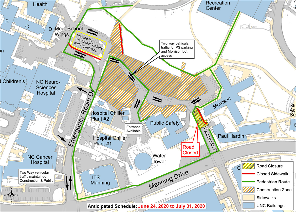 Map of road closure traffic and pedestrian detours