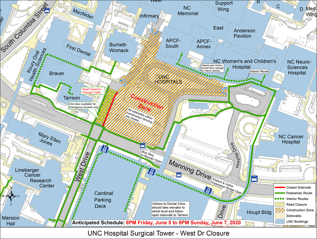 Map of project work zone and pedestrian routes