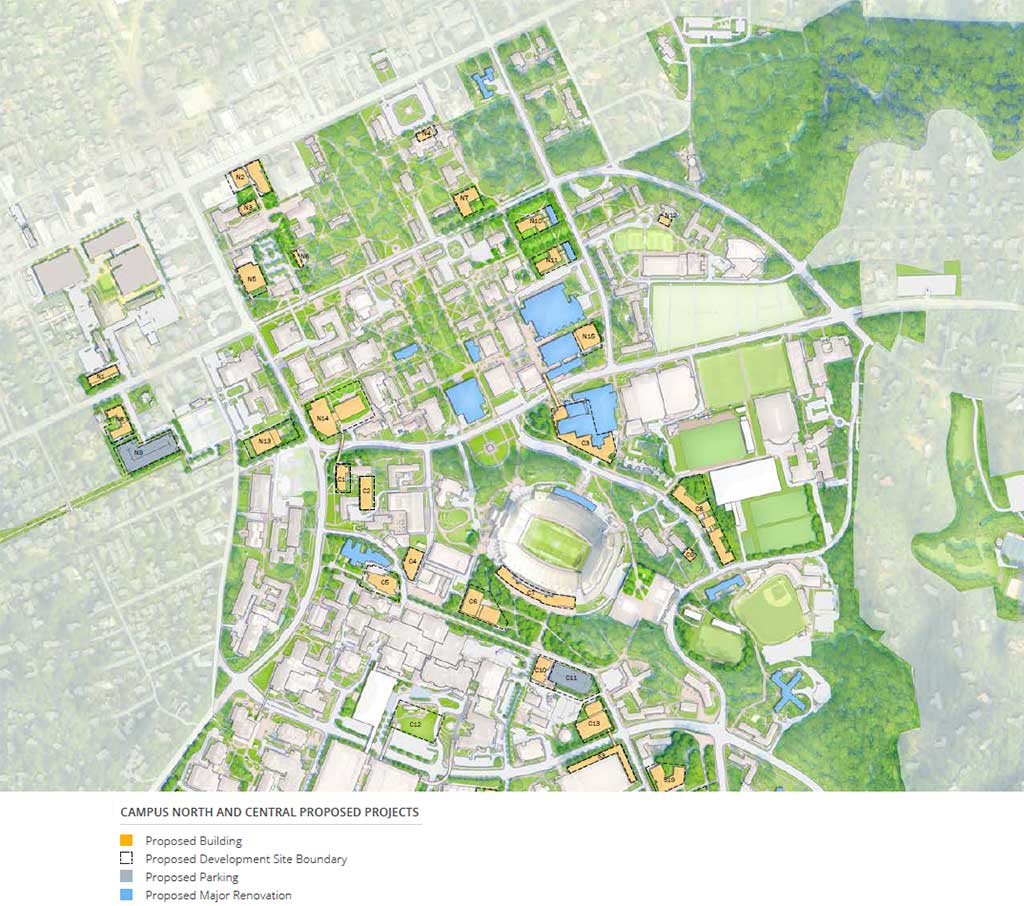 Campus North and Central Proposed Projects Map