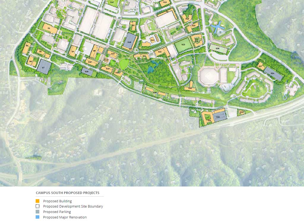 Campus South Proposed Projects Map