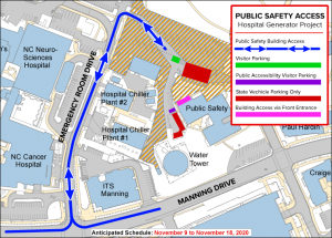 Map of building access and visitor parking