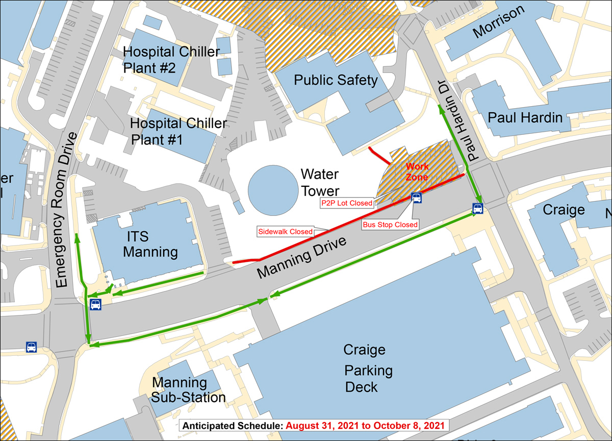 P2P project work zone and pedestrian routes map